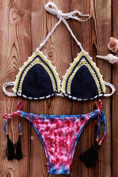 Printed Crocheted Bikini Set PURPLISH BLUE: Bikinis | ZAFUL | http://www.zaful.com/printed-crocheted-bikini-set-p_181976.html