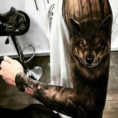 Rocking wolf tattoo sleeve!