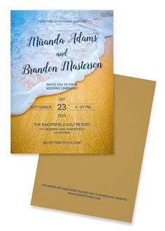 Simple Gold Sand Blue Ocean Waves Summer Beach Wedding Invitation for your best wedding on the beach. We offer you the best design service for your wedding invitation collection. Do not hesitate to contact me.