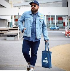 All denim layering herbst autumn fall outfit look zwiebellook jeans Big Men Fashion, Office Fashion Women, Mens Fashion Suits, Fashion Outfits, Swag Fashion, Outfits For Big Men, Fall Outfits For Teen Girls, Casual Fall Outfits, Suits Usa