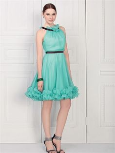 High Neck A-line with Ruffles Knee Length Chiffon Homecoming Dress HD1881 www.homecomingstore.com $120.0000