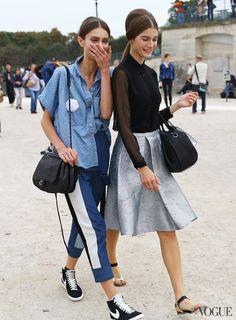Marine Deleeuw (left) - On Marine: 3.1 Phillip Lim pants, Chanel bag, Nike shoes
