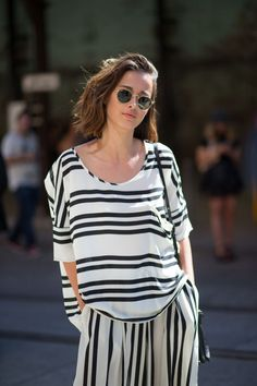 stripes. Street style from Australian fashion week feat Ray-Ban round #sunglasses