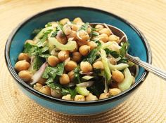 A simple salad of chickpeas dressed in a light vinaigrette flavored with cumin, shallots, and olive oil. Crunchy celery and parsley finish it off. This is the kind of salad that gets better as it sits—Make it one night and pack it for lunch at the office or on a picnic the next day.