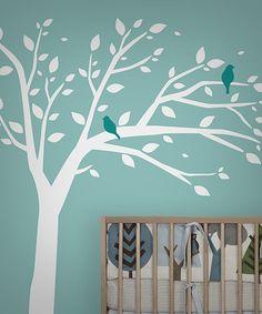 White & Blue Bird Tree Wall Decal Set