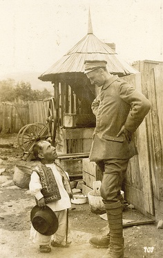 WWI German Alpenkorps Soldier and Romanian Villager