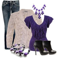 """Purple and white"" by chells-style on Polyvore"