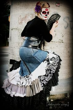Upcycled Flamenco Skirt, Day of the Dead Lolita Sugar Skull - Steampunk Clothing (Blue Denim, Black and White Polka Dots and Prints) AU$536.19