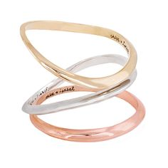 Tri-tone Bangle Set. Sculpted bangle set of three tri-tone plated bangles: shiny gold, rose gold, and shiny silver. All three for only $48!