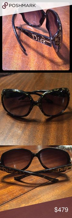 **SALE Authentic Christian Dior Glossy sunglasses! **RARE** Christian Dior Glossy 1 sunglasses with 18k gold leafing. Black oversized frame with gold hardware and 18k gold leafing. New, without case or dust cloth. Authentic, rare, and excellent condition. What a steal! Please ask for additional photos or information. Thanks!! Christian Dior Accessories Sunglasses