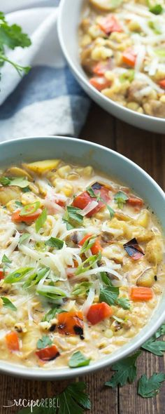 This Southwestern Potato and Corn Chowder is simple to make with leftover grilled vegetables, or start with fresh from scratch! It's loaded with potatoes, corn, peppers, and tons of Southwest flavor! Vegaterian Recipes, Chili Recipes, Cooking Recipes, Healthy Recipes, Dinner Recipes, Cooking Corn, Healthy Meals, Crockpot Recipes, Potato Corn Chowder