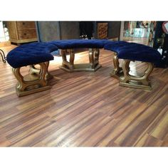Image of Oval Royal Blue Benches - Set of 3