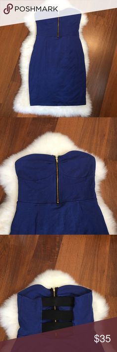 NWOT Blue Fitted Dress Purchased at Macy's. New without tags. Super cute dress!! Nice stretchy fabric 💙 Dresses Strapless
