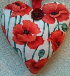 Poppy Fabric Heart Lavender Bag- Handmade