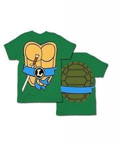 TMNT Teenage Mutant Ninja Turtles Leonardo Costume Green T-shirt with Orange Eye Mask (Adult X-Small)