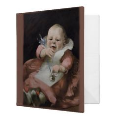Binder - Vintage Photo Album Stunning vintage illustration of a baby playing with a silver rattle. This would make a delightful ph...