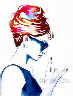 Audrey Rocks lámina Original pintura moda por KimberlyGodfrey