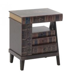 WOODEN BEDSIDE TABLE 'BOOK' 47X34_5X58_5