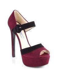 Prada Bicolor Suede Platform Sandals in Purple (GRANATO-BURGUNDY)