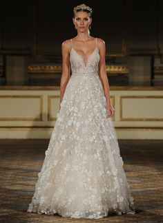 Berta embroidered lace A-line wedding dress with 3-D flowers from Fall 2016 | https://www.theknot.com/content/berta-wedding-dresses-bridal-fashion-week-fall-2016: