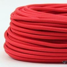 Textilkabel-Stoffkabel rot 3-adrig 3x0,75 Gummischlauchleitung