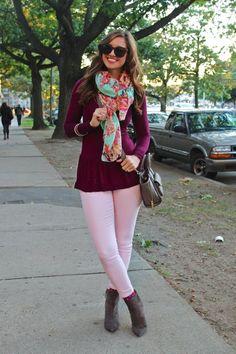 La Mariposa: Polka Dot socks, floral scarf & maroon top
