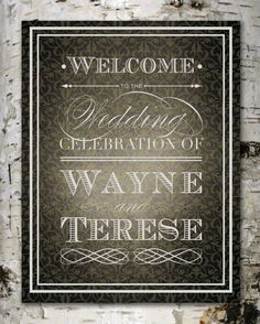 Custom Vintage Wedding WELCOME SIGN - Printable Digital Design Only