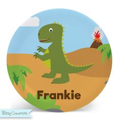 Dinosaur Plate - Child's Plate or Bowl Personalized for Child (Green). This fun dinosaur design is available in a plate, bowl, or set. It features a green dinosaur on an outdoor scene background. Bowls are 20 oz., plates measure 10 inches. Both are made from melamine, are non-toxic, bpa-free, dishwasher safe, and made for everyday use. Illustrations are by BitsyCreations. Choose plate or bowl--or grab a set and save! Your choice to put a name or not. Please be sure to double-check…