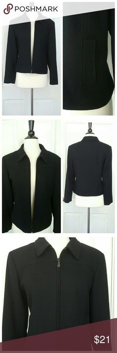 Compagnie Internationale Express Black Wool Jacket Compagnie Internationale Express wool jacket with zip front and side pockets. Some wear on zipper as shown in last photo. 100% wool. Size tag is marked 9/10. Express Jackets & Coats