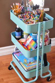 A home for supplies   Try an alternative use for the kitchen cart . Fill one shelf with bins of supplies: crayons, paper, pens, pencils, erasers, rulers, a dictionary and a calculator. Leave the other shelf empty for mid-project storage. Simply wheel the cart out during homework time and out of site again later. Another way to utilize a cart is one shelf per kiddo.
