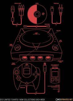 A Sega Dreamcast t-shirt by Melee_Ninja/Adam Works. The Dream Machine! Retro Video Games, Video Game Art, Playstation, Xbox, Consoles, Mundo Dos Games, Gaming Posters, Nintendo Sega, Mario