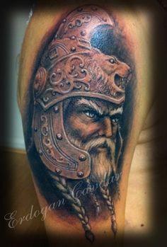Coloured viking warrior tattoo on half sleeve - Tattooimages. Warrior Tattoo Sleeve, Viking Warrior Tattoos, Sleeve Tattoos, Half Sleeves, Vikings, Portrait, Color, Tattoos, Tattoo Sleeves