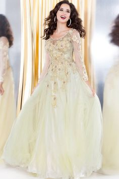 Yellow Lace Prom Ballgown 50192