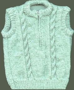 Blossom Knitwear - Zip-up Baby Vest with Cables