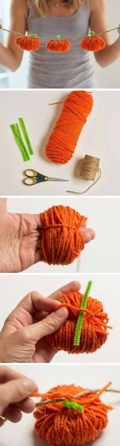 Yarn Pumpkin Garland | 22 Easy Fall Crafts for Kids to Make