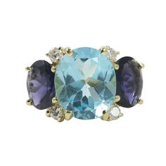 Large 18kt Yellow Gold Gum Drop Ring with Blue Topaz and Iolite | From a unique collection of vintage three-stone rings at http://www.1stdibs.com/jewelry/rings/three-stone-rings/