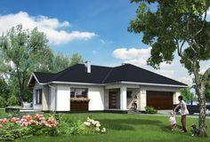 Projekt domu Aurelia Polo - murowana – ceramika 140,7 m2 - koszt budowy - EXTRADOM Exterior Colors, Ground Floor, Home Fashion, House Plans, Villa, House Design, Flooring, Mansions, Architecture