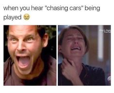 Grey's Anatomy meme. This always happens to me every time this song plays. Grey's Anatomy meme. This always happens to me every time this song plays. Greys Anatomy Episodes, Greys Anatomy Funny, Greys Anatomy Facts, Grey Anatomy Quotes, Grays Anatomy, Greys Anatomy Songs, Drama, Grey's Anatomy Quiz, Funny Relatable Memes