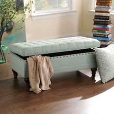 Powder Blue Linen Tufted Storage Bench $199 Kirklands 43L x 22W x 18H in. interior storage dimensions: 40L x 19.5W x 8D in