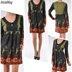 "ARYEH BORDER PRINT CROCHET DRESS V-neck border print sweater dress with crochet at neckline. Very soft and stretchy material. Gentle machine wash, 100% polyester.                                              Bust: 34"" Waist: 34"" Hips: 44"" Length: 33.5"" ARYEH Dresses"