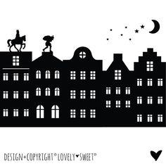 € 19,50 Raamsticker Sinterklaas Silhouet & Grachtenhuisjes... Te koop in de Shop !