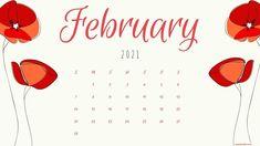 Floral February 2021 Desktop Calendar Wallpaper