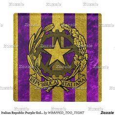 Italian Republic Purple Gold Stripe Glass Coaster