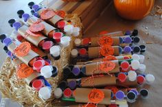 Kids pumpkin patch birthday party favors to go with their pumpkins - paint pots and brushes #pumpkinpatch