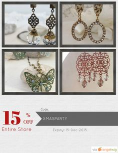 We are happy to announce 15% OFF our Entire Store. Coupon Code: XMASPARTY Min Purchase: 10.00 Expiry: 15-Dec-2015 Click here to view all products:  Click here to avail coupon: https://orangetwig.com/shops/AAAkB9K/campaigns/AABa3SW?cb=2015010&sn=CeliaElizabeth&ch=pin&crid=AABa3Si