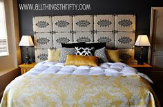 Fabric Headboard by All Things Thrifty - made with lots of individual panels