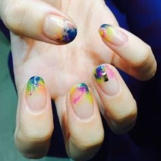 """906 Likes, 11 Comments - 유니스텔라 네일_박은경 (@nail_unistella) on Instagram: """"#watercolor  #nails #unistella"""""""