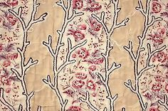 Details about Antique French quilt fragment Pique c1810 LOVELY block printed…