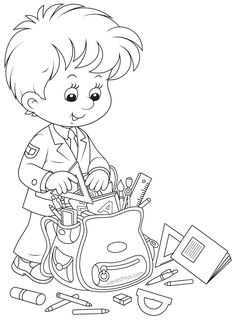 Back to School Coloring Pages - Sarah Titus School Coloring Pages, Coloring Book Pages, Coloring Sheets, Colouring Pics, Coloring Pages For Kids, Kids Coloring, School Boy, Back To School, Charlie E Lola