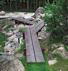 pitkospuut puutarha - suomela.fi Garden Paving, Garden Steps, Garden Paths, Small Yard Design, Landscape Design, Garden Design, Garden Structures, Garden Projects, Garden Inspiration